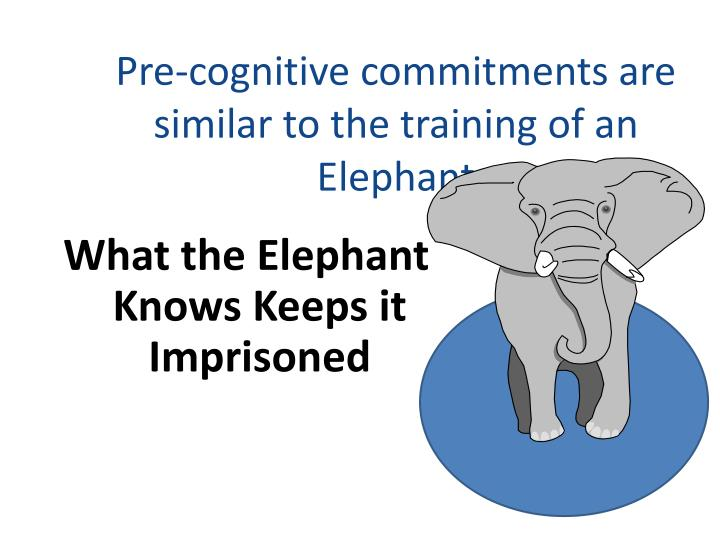Pre-cognitive commitments are similar to the training of an Elephant