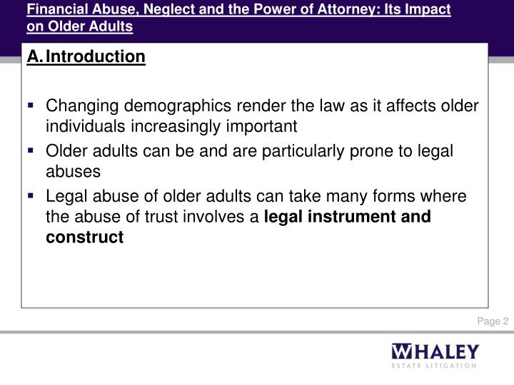 Financial abuse neglect and the power of attorney its impact on older adults