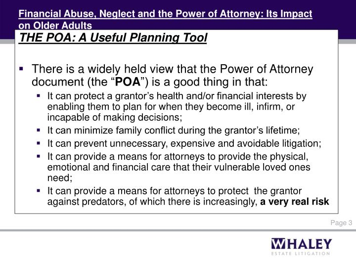 Financial abuse neglect and the power of attorney its impact on older adults1