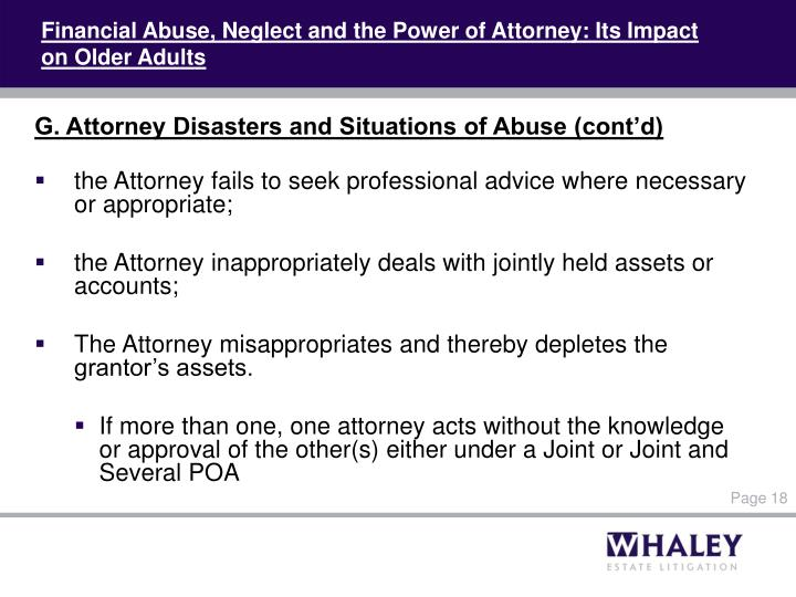 Financial Abuse, Neglect and the Power of Attorney: Its Impact on Older Adults