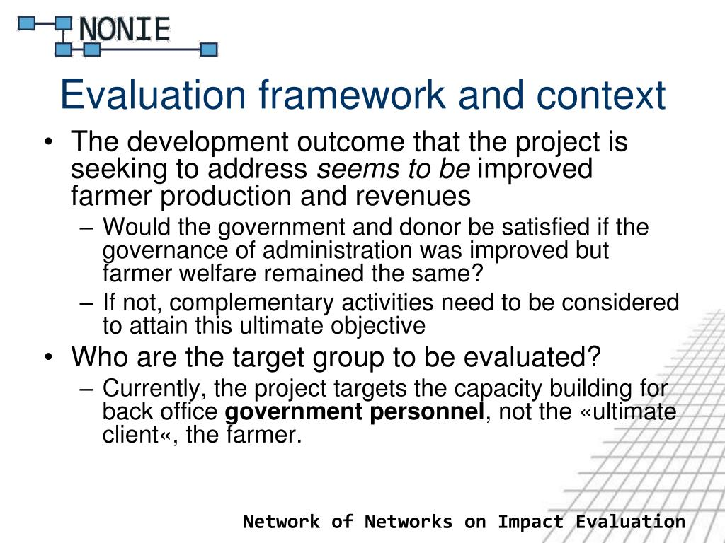 Evaluation framework and context