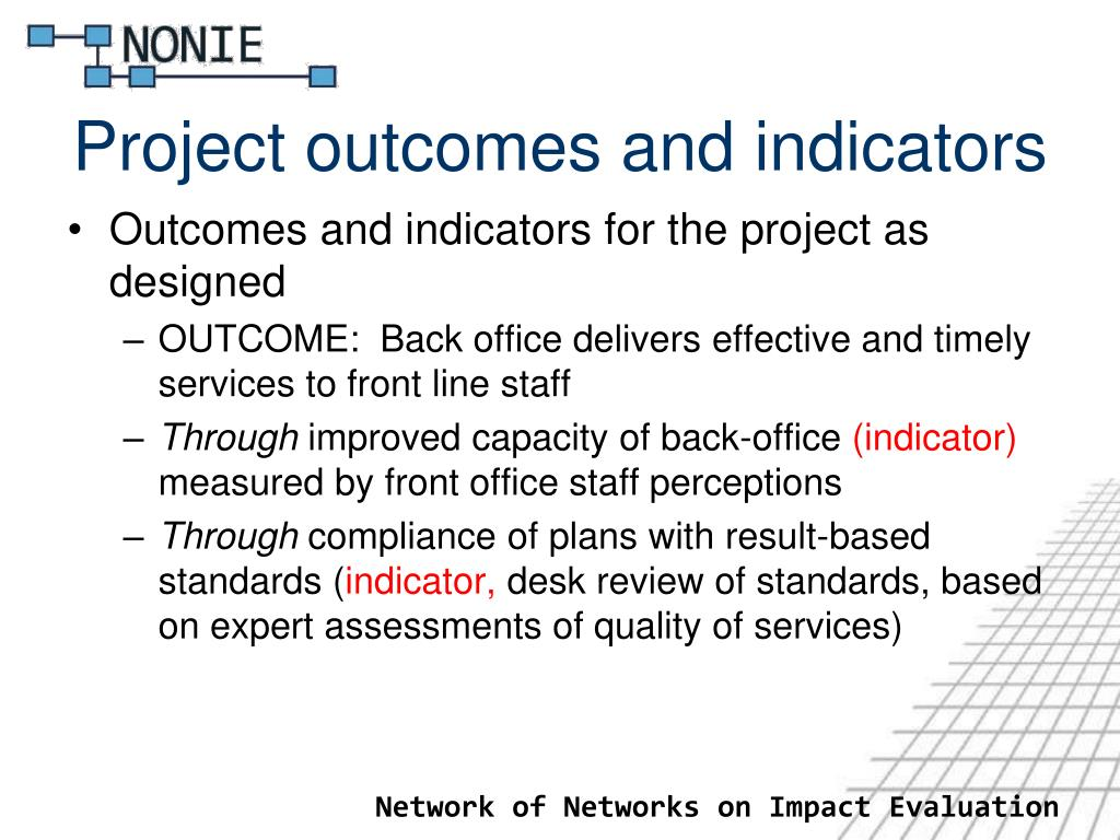 Project outcomes and indicators