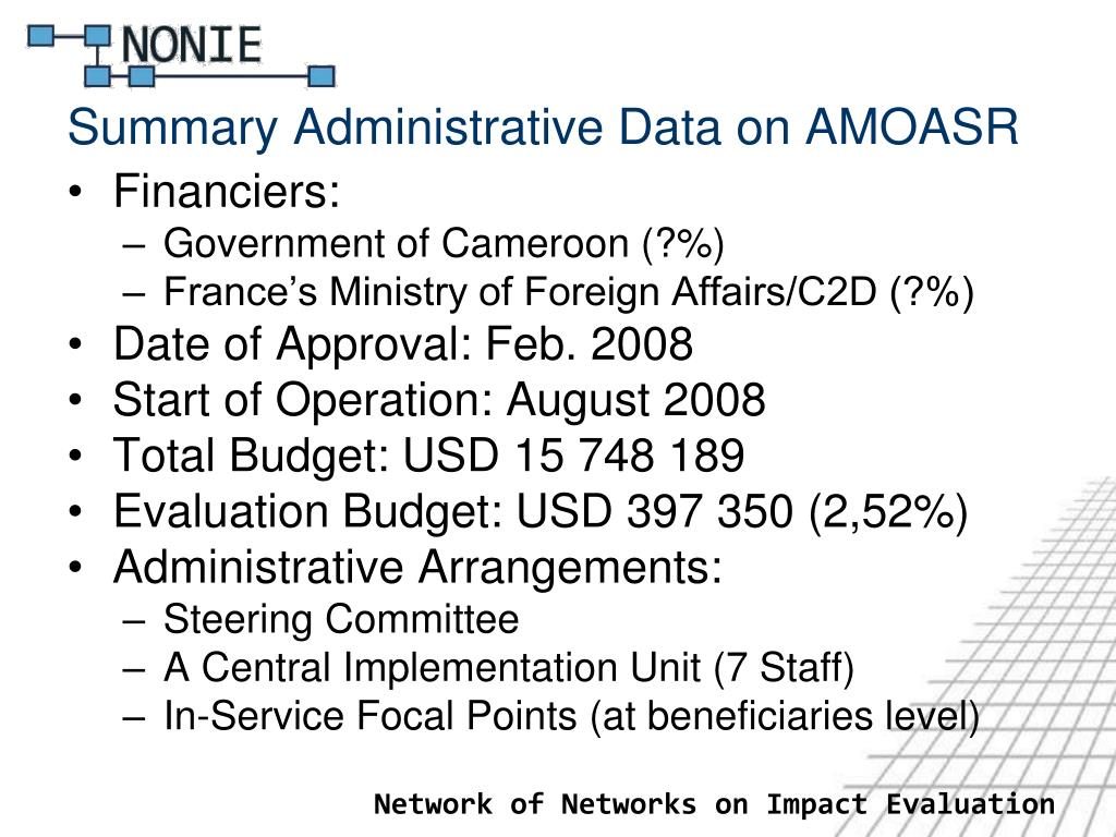 Summary Administrative Data on AMOASR