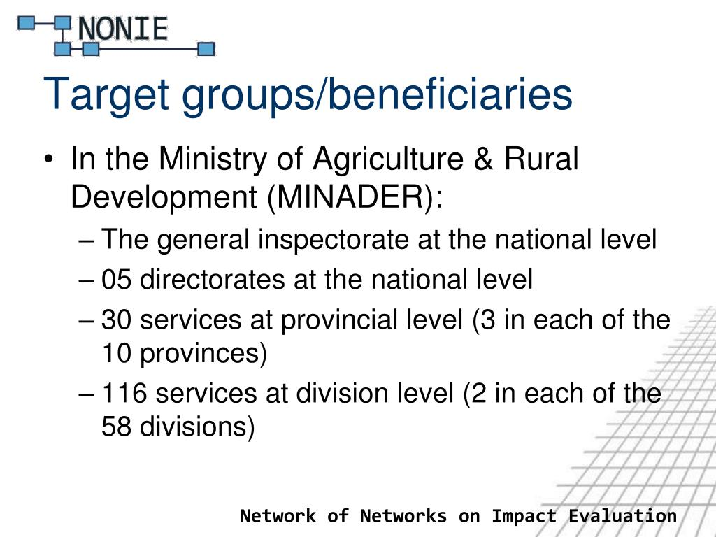 Target groups/beneficiaries