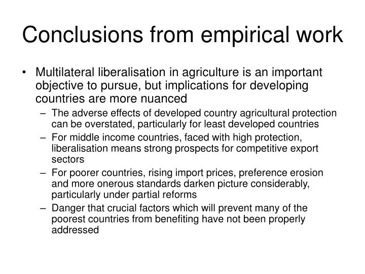 Conclusions from empirical work
