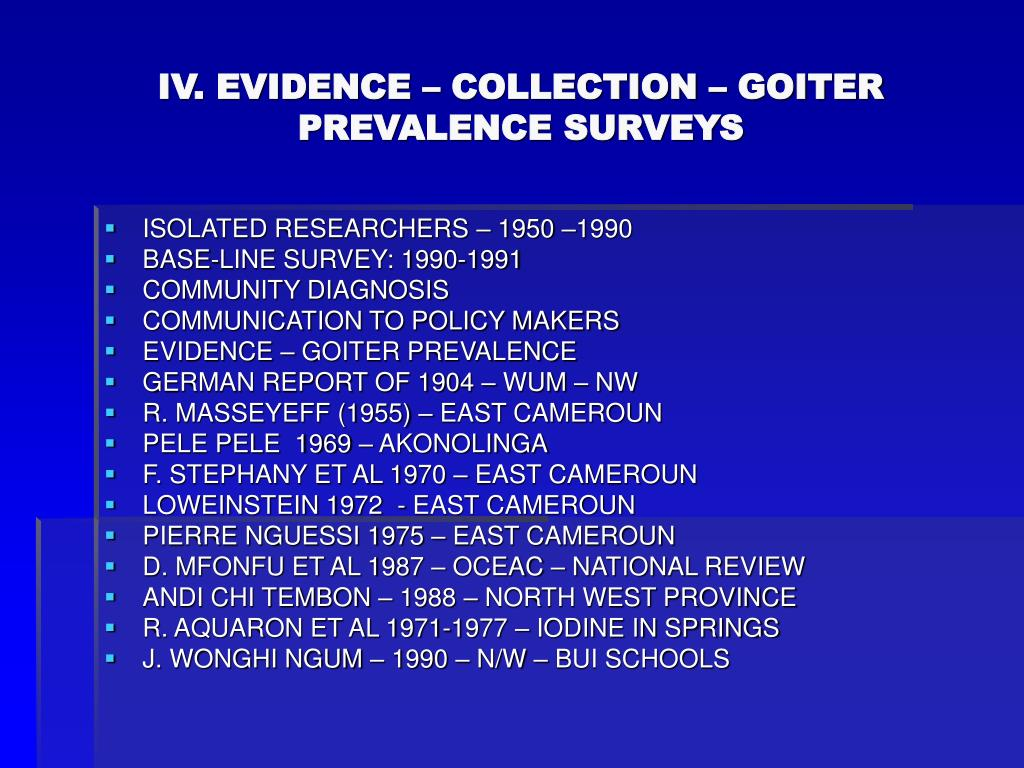 IV. EVIDENCE – COLLECTION – GOITER PREVALENCE SURVEYS