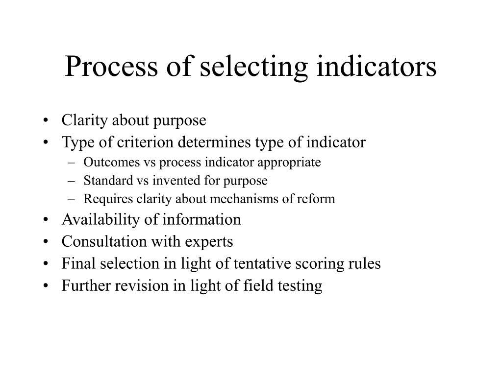 Process of selecting indicators