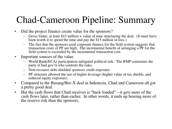 Chad cameroon pipeline summary