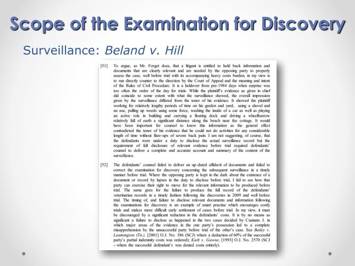 Scope of the Examination for Discovery