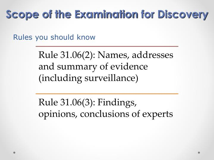 Scope of the Examination
