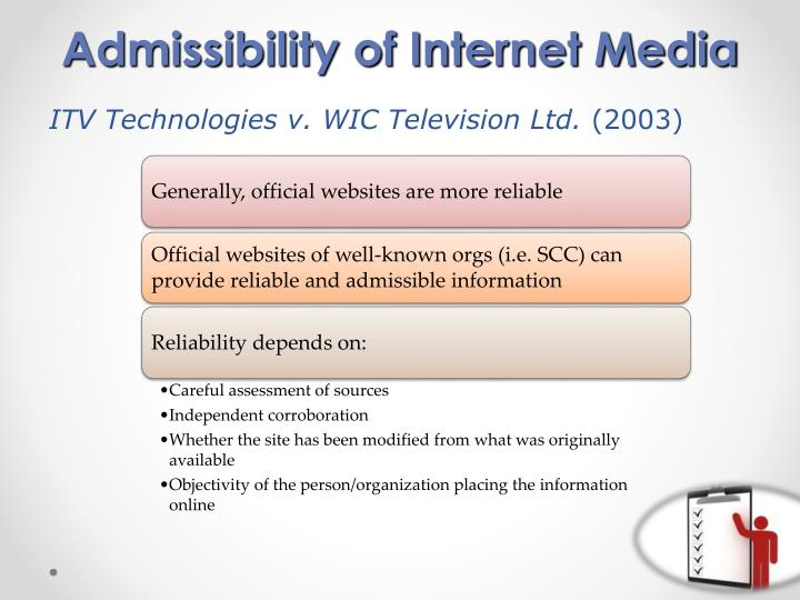 Admissibility of Internet Media