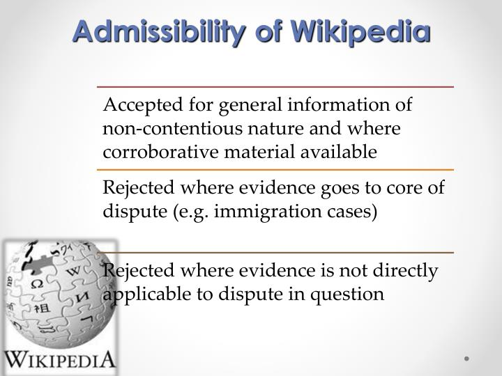 Admissibility of Wikipedia