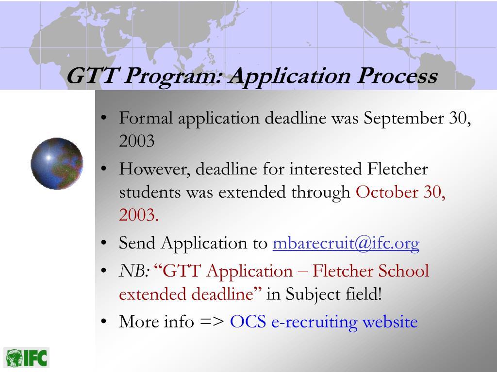 GTT Program: Application Process