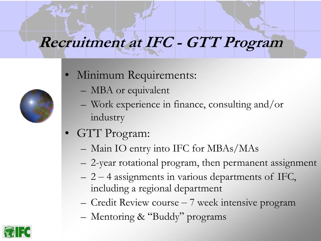 Recruitment at IFC - GTT Program