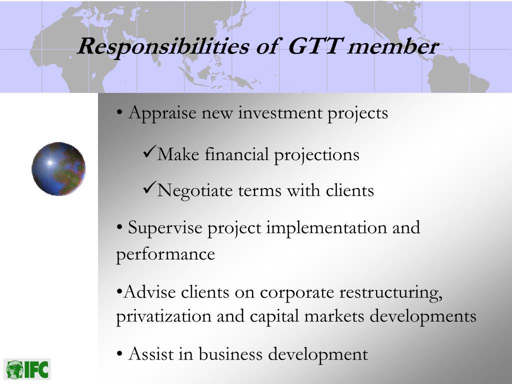 Responsibilities of GTT member