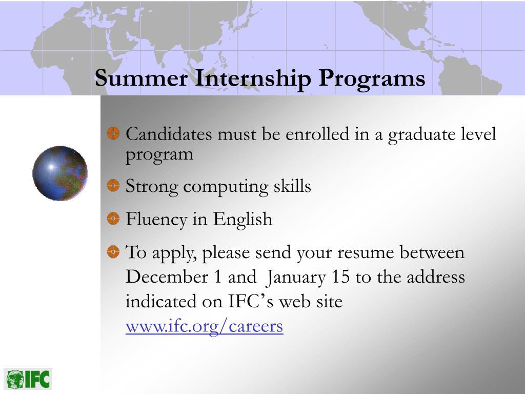 Summer Internship Programs