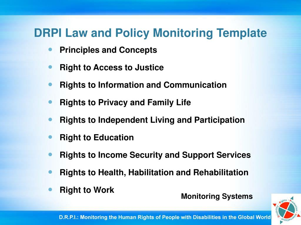 DRPI Law and Policy Monitoring Template
