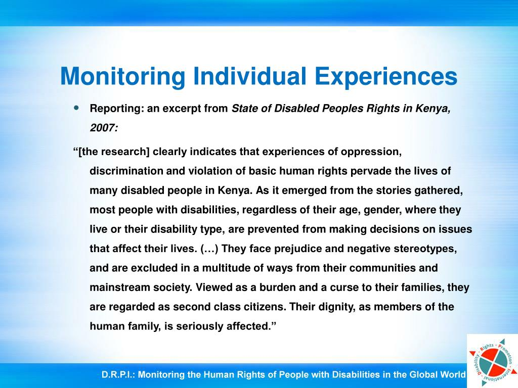 Monitoring Individual Experiences
