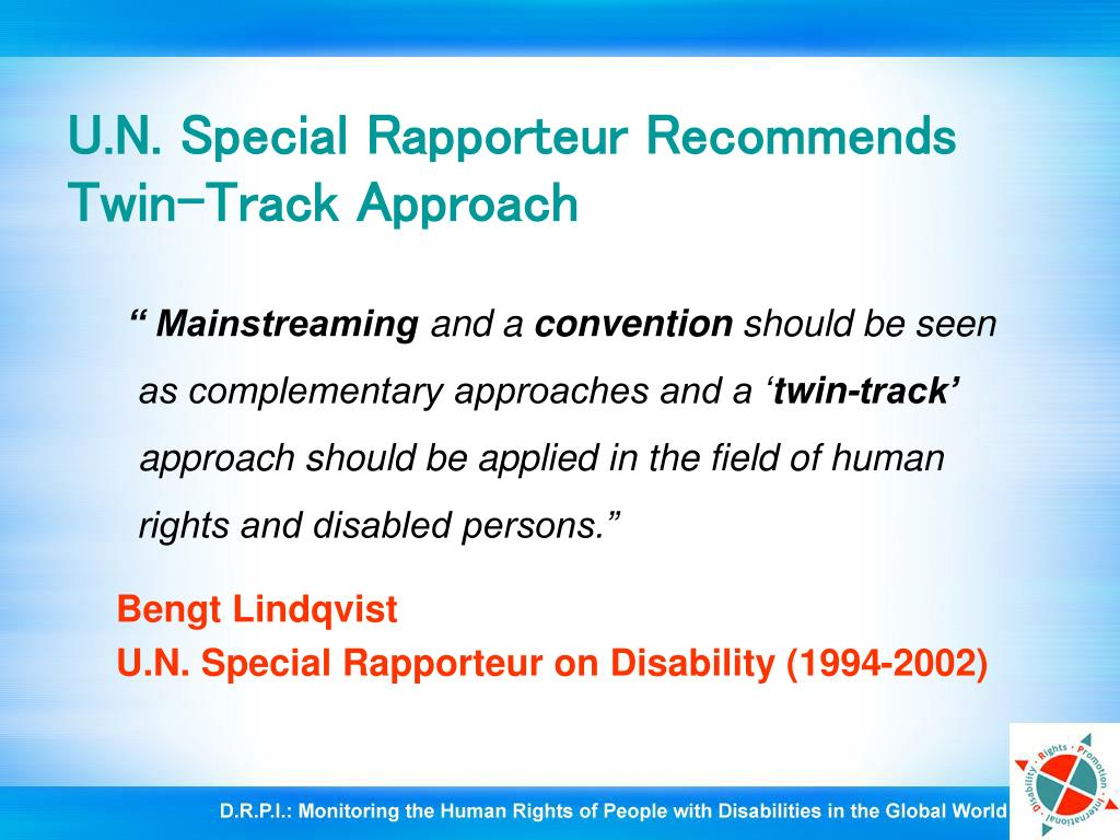 U.N. Special Rapporteur Recommends