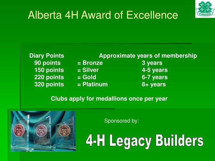 Alberta 4H Award of Excellence