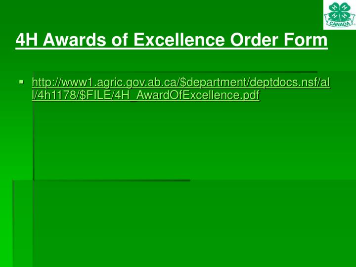 4H Awards of Excellence Order Form