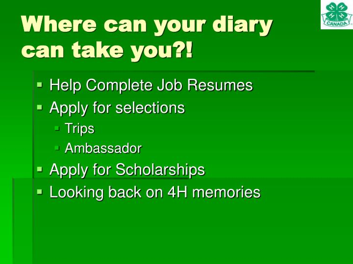 Where can your diary