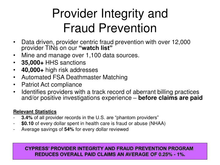 Provider Integrity and