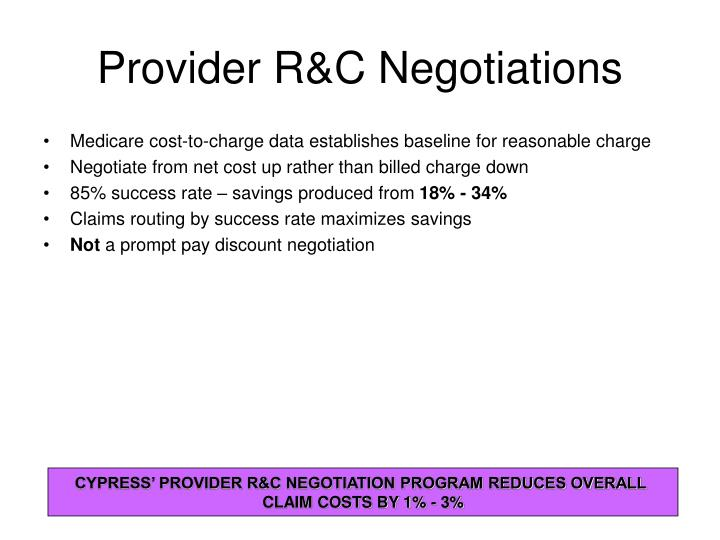 Provider R&C Negotiations