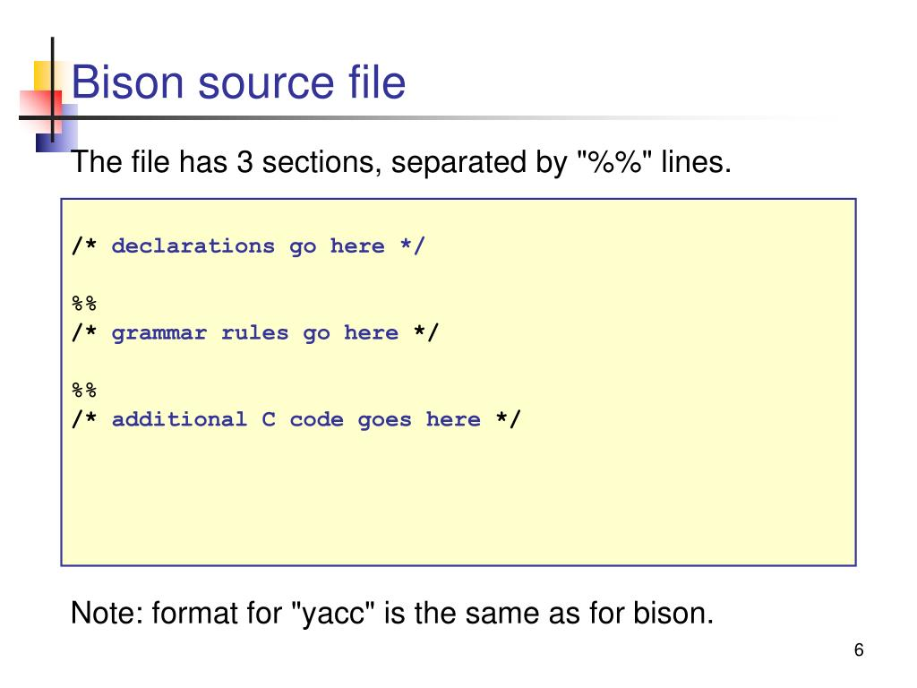 Bison source file