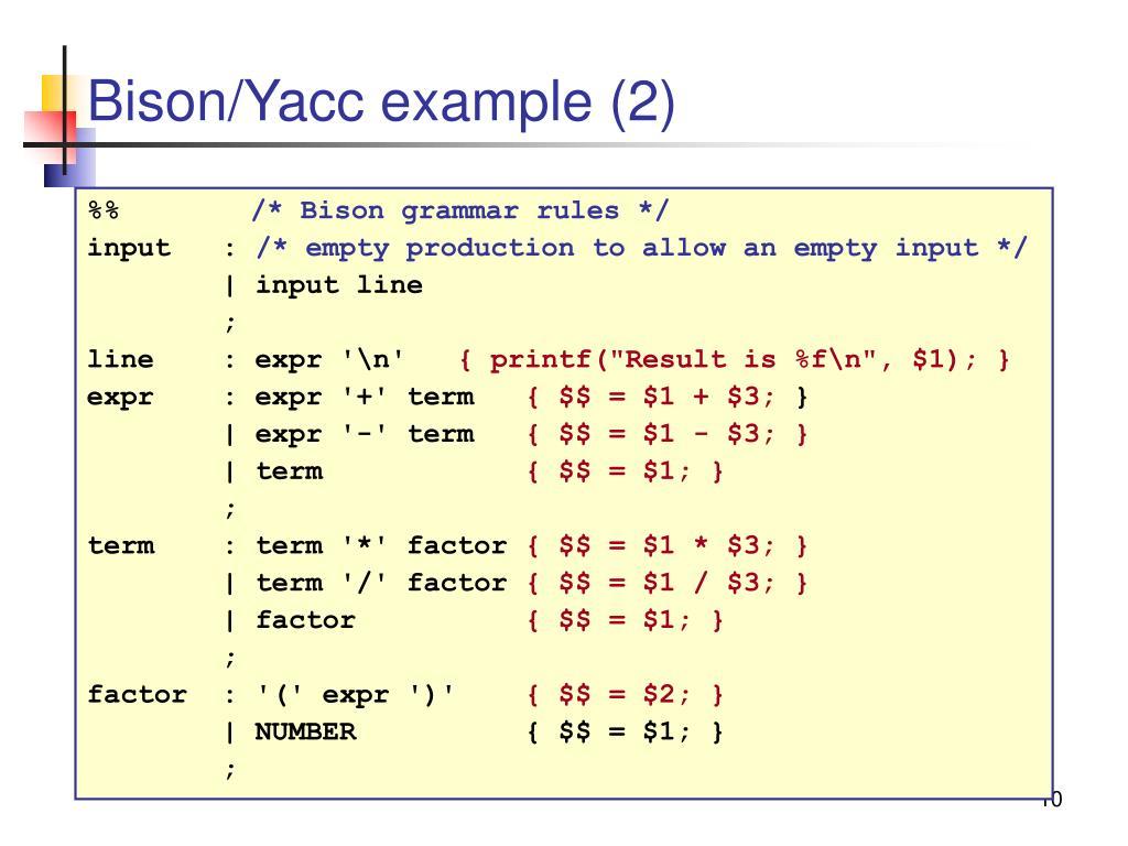Bison/Yacc example (2)