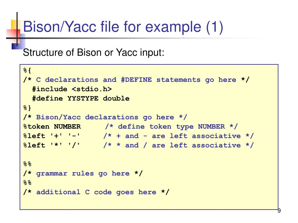 Bison/Yacc file for example (1)