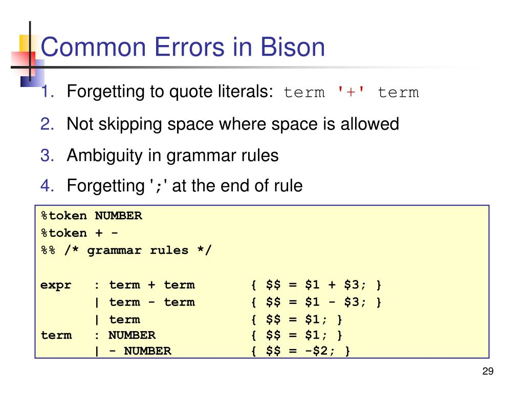 Common Errors in Bison