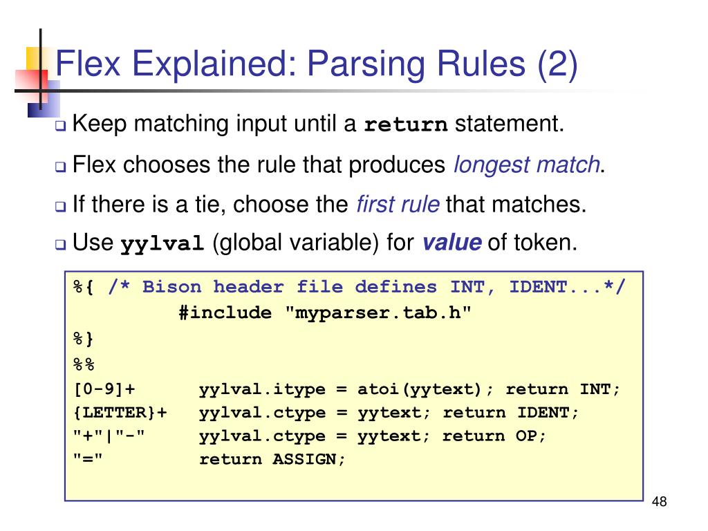 Flex Explained: Parsing Rules (2)
