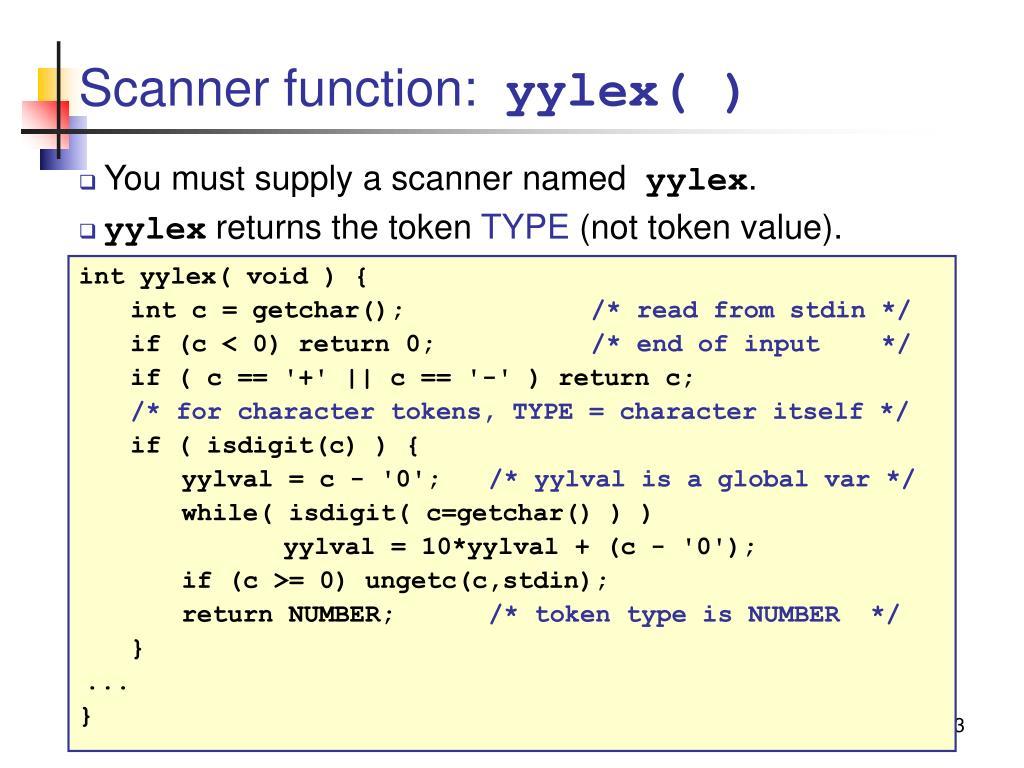 Scanner function: