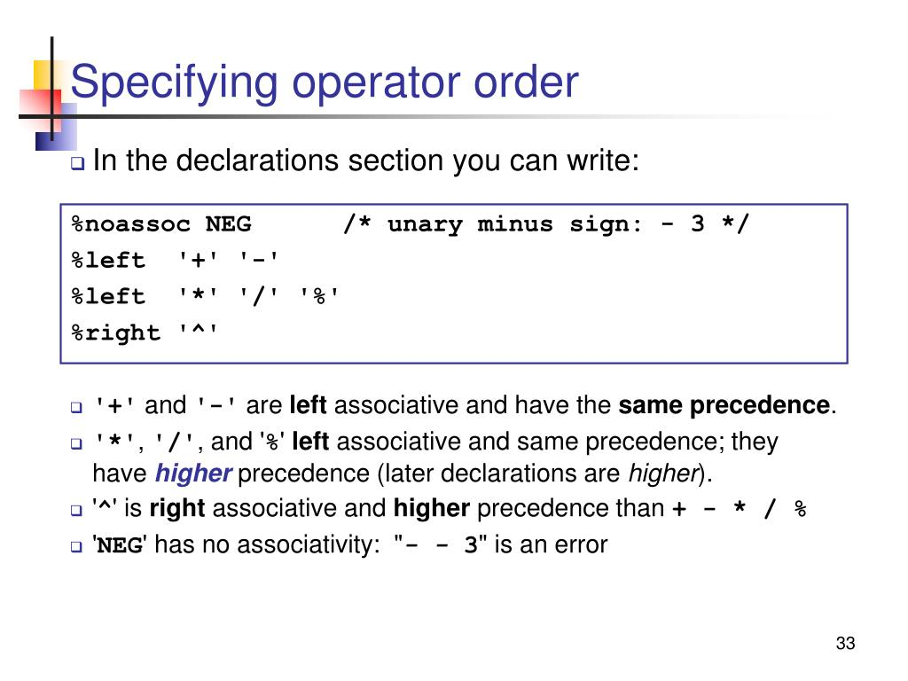 Specifying operator order