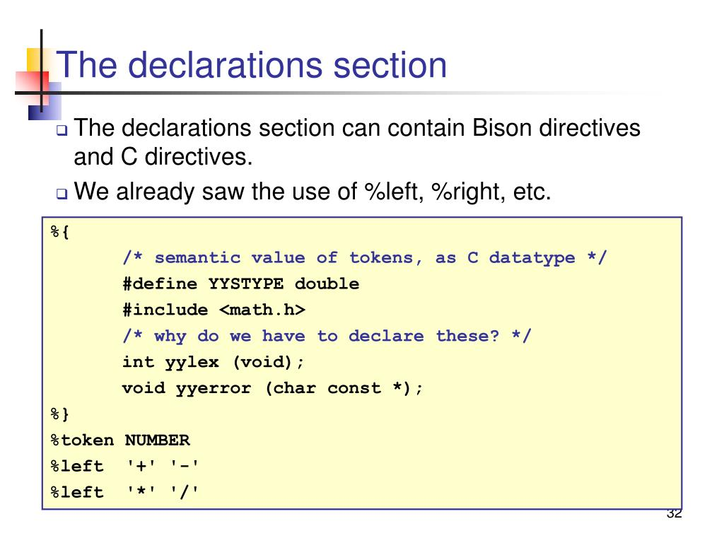 The declarations section