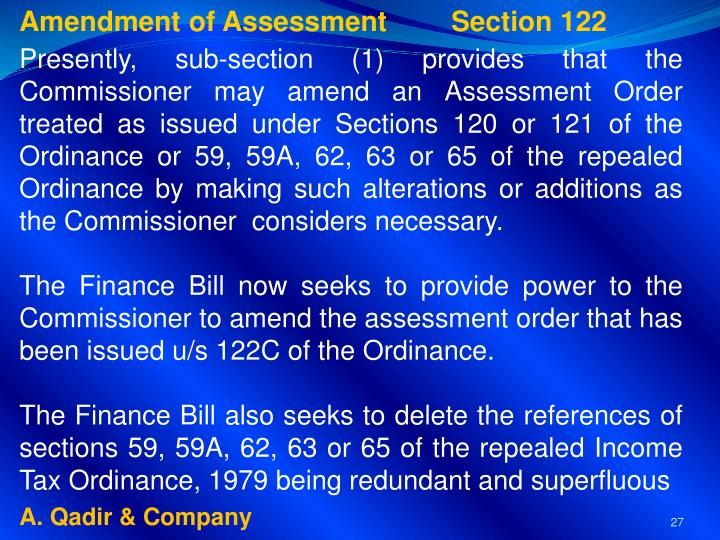 Amendment of Assessment 	Section 122