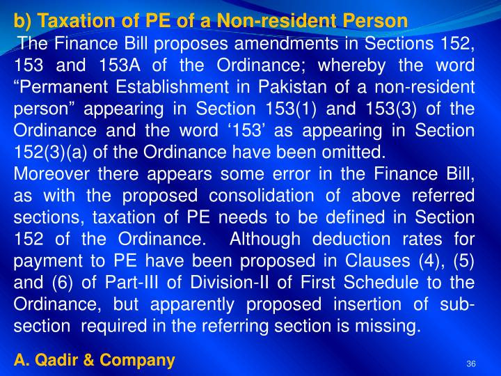b) Taxation of PE of a Non-resident Person