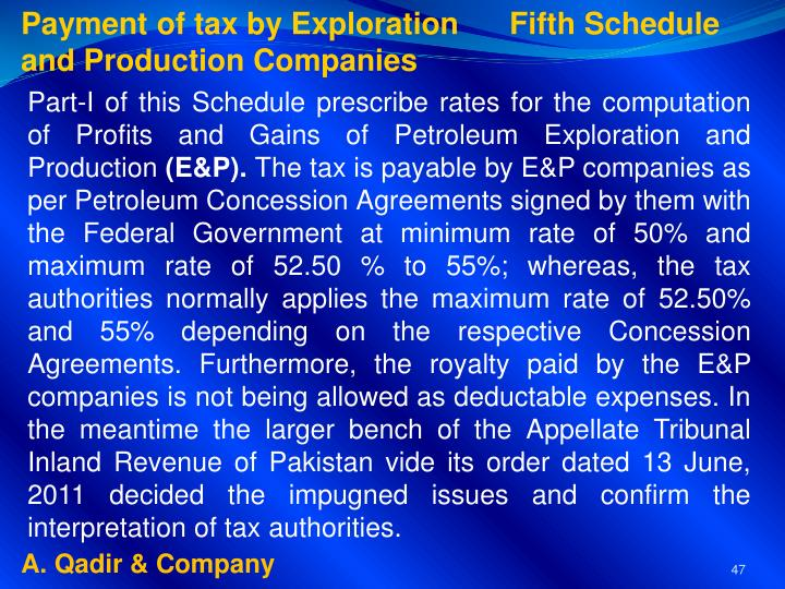 Payment of tax by Exploration      Fifth Schedule