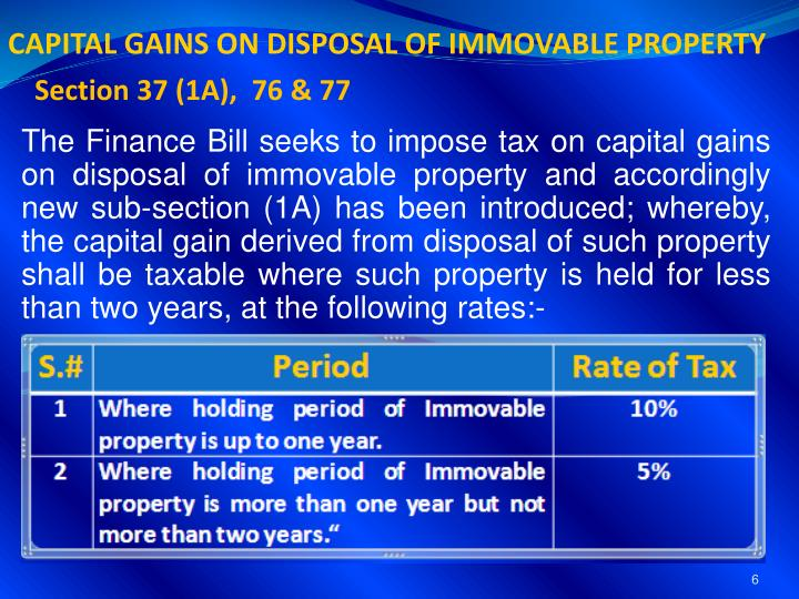 CAPITAL GAINS ON DISPOSAL OF IMMOVABLE PROPERTY
