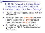 2005 02 request to include bison stew meat and ground bison as permanent items in the food package