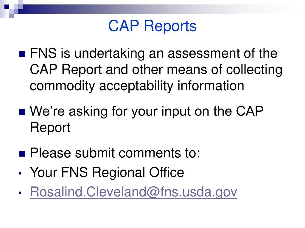 CAP Reports