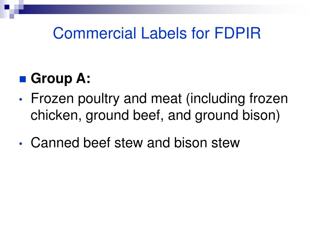 Commercial Labels for FDPIR