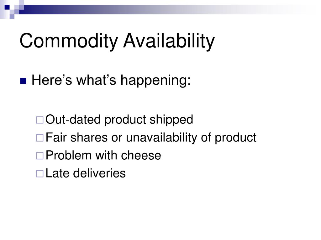 Commodity Availability
