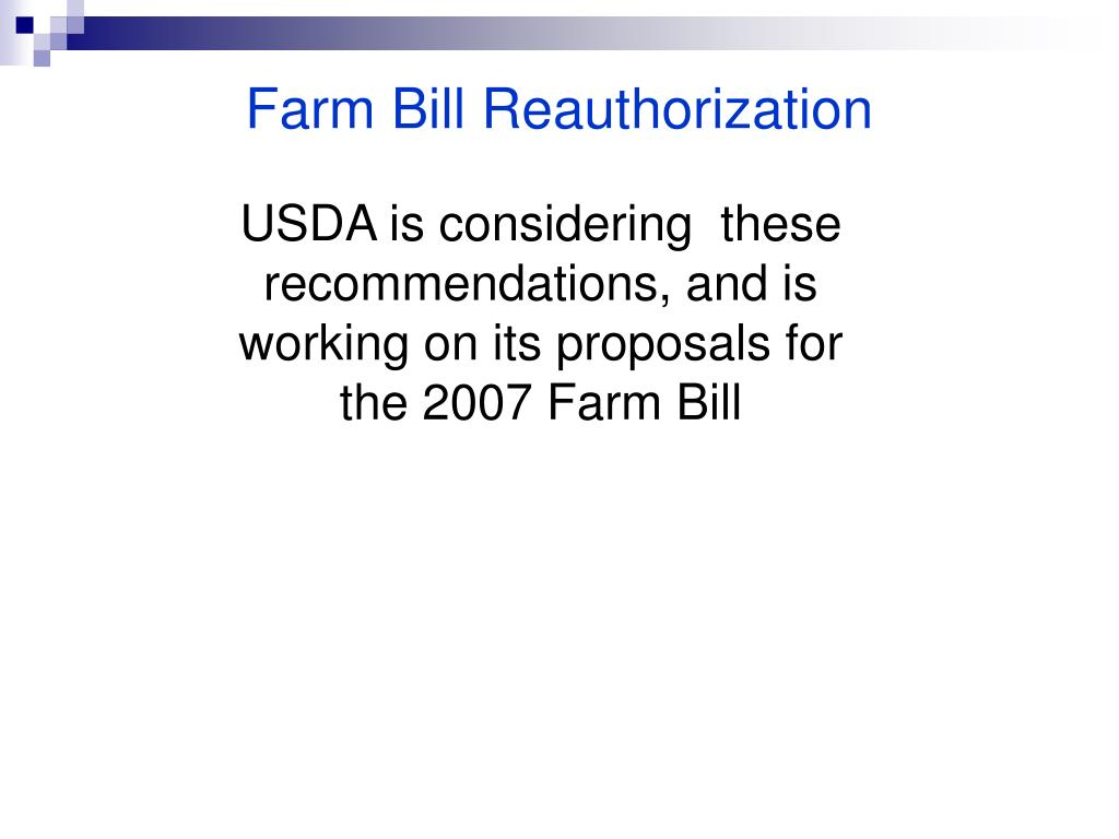 Farm Bill Reauthorization