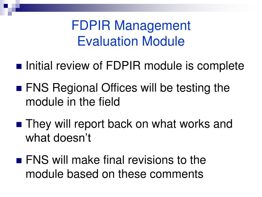 FDPIR Management