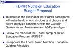 fdpir nutrition education budget proposal