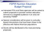fdpir nutrition education budget proposal89