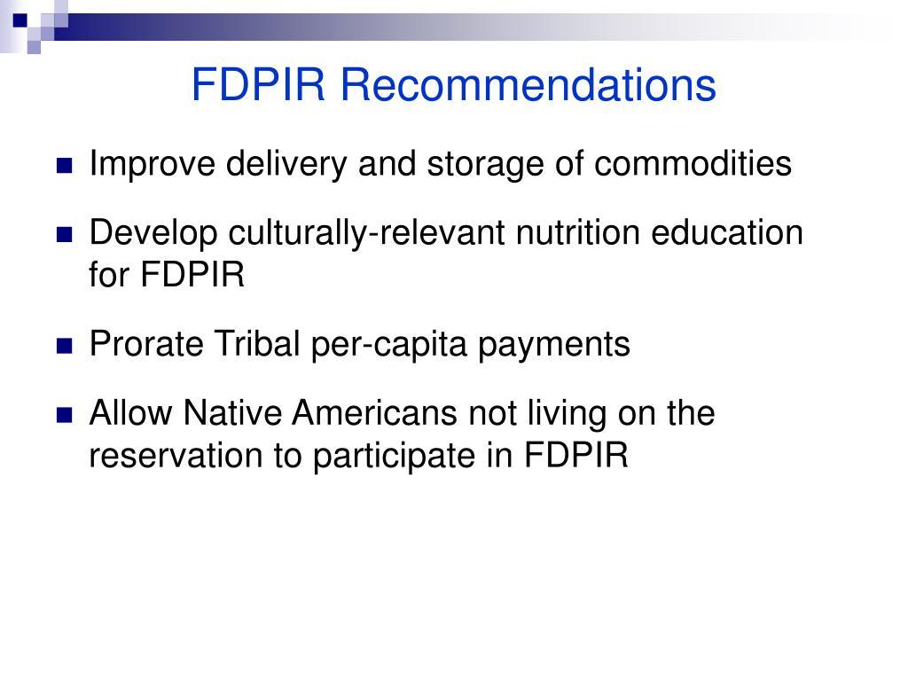 FDPIR Recommendations