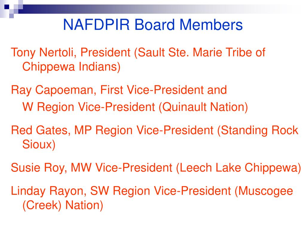 NAFDPIR Board Members